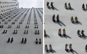 Artista appende 440 paia di scarpe ad un edificio in onore delle donne uccise dai loro mariti