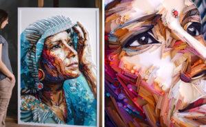 Intensi ritratti fatti con strisce di carta colorata
