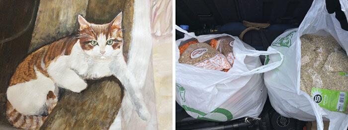 Bambino dipinge ritratti in cambio di cibo per cani abbandonati