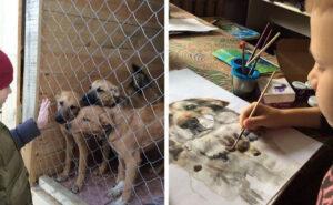Bambino di 9 anni dipinge ritratti di veri animali domestici in cambio di cibo per cani abbandonati