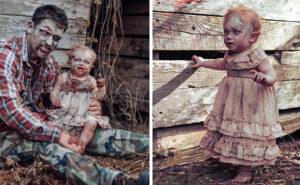 Trasforma sua figlia in uno zombie per un servizio fotografico horror davvero convincente
