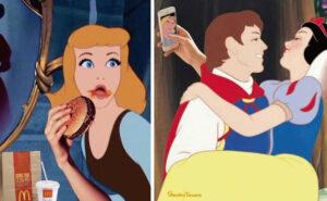 Fotomontaggi divertenti e dissacranti di personaggi Disney in situazioni del tutto inaspettate