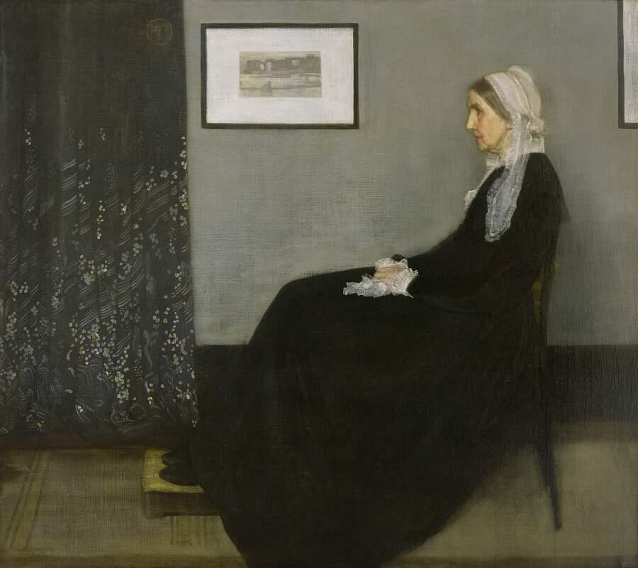 Storie interessanti dipinti famosi - Arrangiamento in grigio e nero, ritratto n. 1 (La madre di Whistler), James Abbott McNeill Whistler