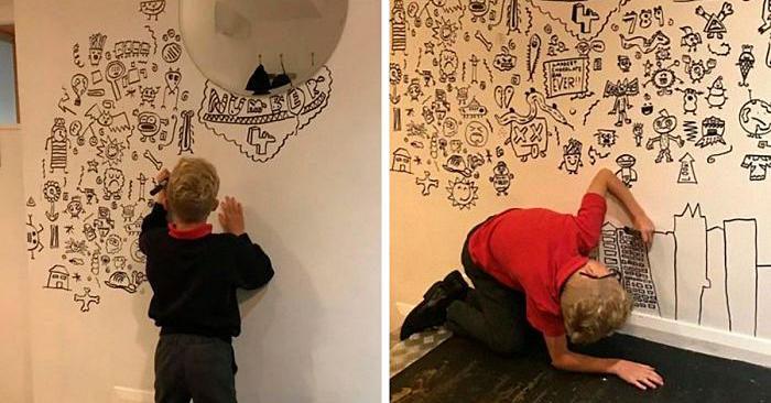Bambino sempre rimproverato in classe perché disegnava viene assunto da ristorante per decorare con i suoi disegni