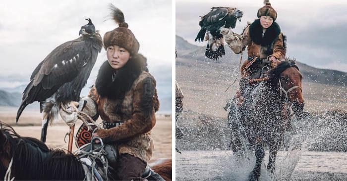 Fotografo cattura una delle ultime donne che cacciano con le aquile