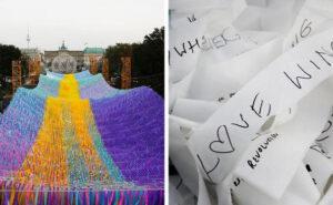 120.000 nastri colorati dove una volta c'era il muro di Berlino, per celebrare il 30° anniversario della sua caduta
