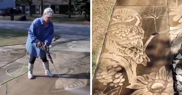 Il marito le regala un'idropulitrice e lei la usa per creare opere d'arte straordinarie