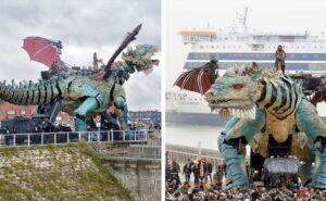 Spunta a Calais un drago sputafuoco meccanico lungo 25 metri e manovrato da 17 persone