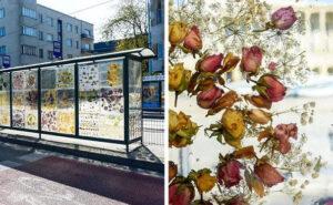 Artista polacca trasforma una fermata del tram in un bellissimo museo dei fiori