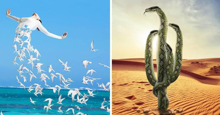 Artista combina natura, animali e persone per creare immagini ipnotizzanti