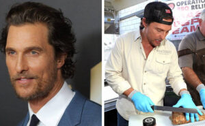 Matthew McConaughey serve i pasti dei pompieri in California, e li ringrazia