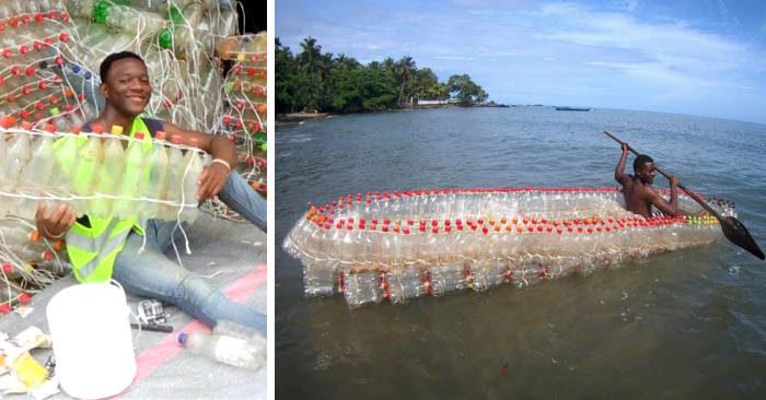 Questo giovane costruisce barche riciclando bottiglie di plastica, e aiuta i pescatori bisognosi