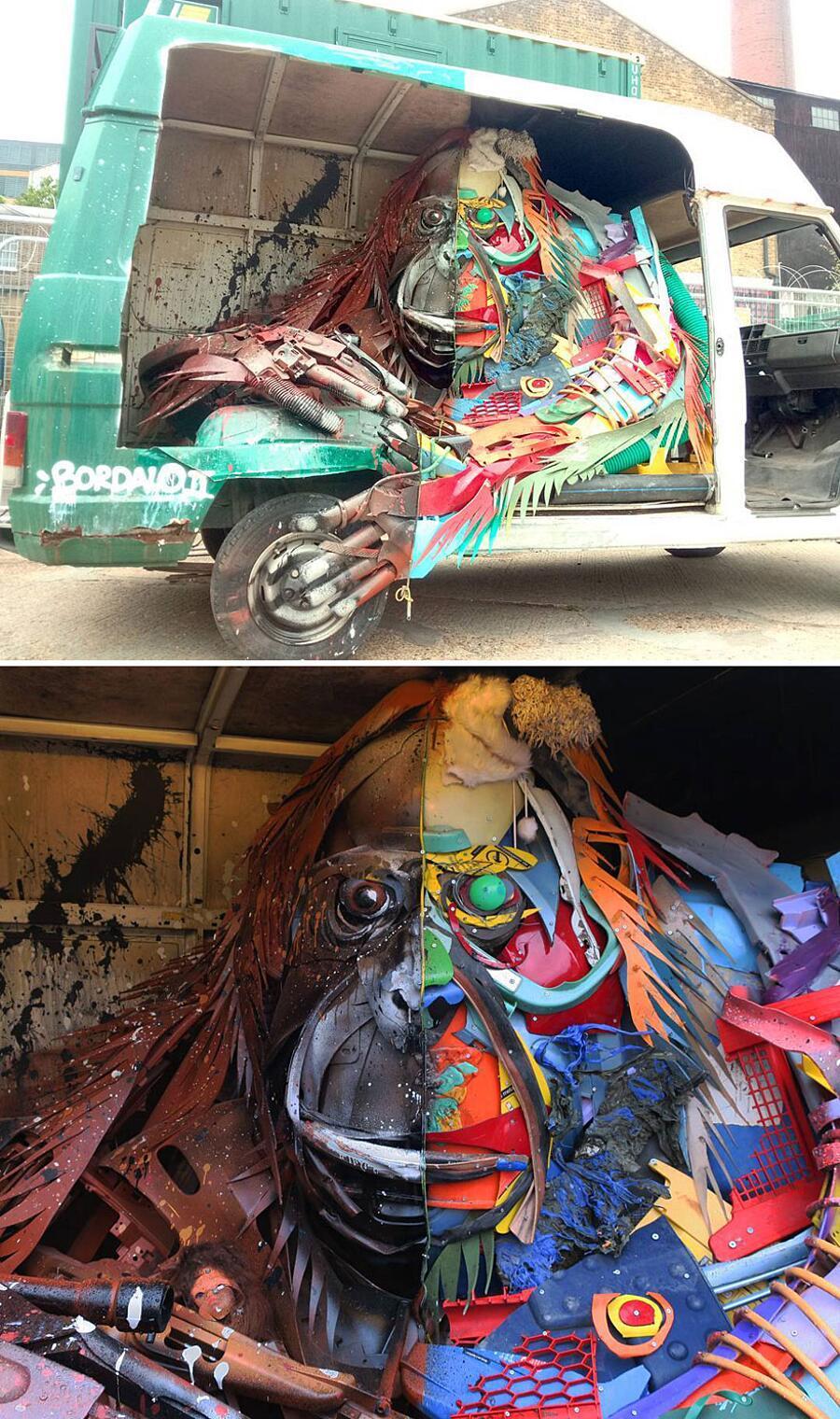 Sculture fatte di rifiuti Bordalo II