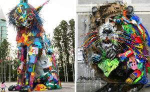 Artista trasforma i rifiuti in animali, per sensibilizzare sull'inquinamento (30 nuove foto)