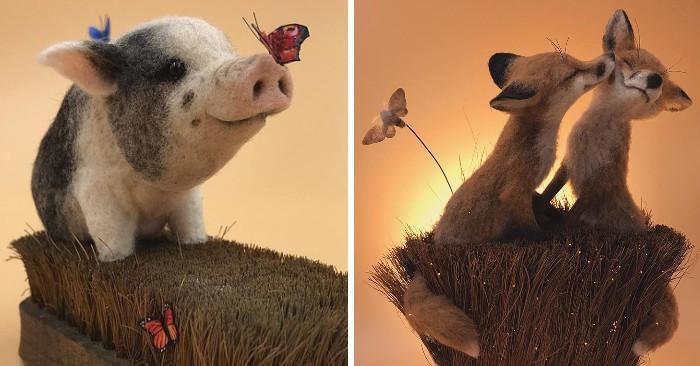 Artista britannico usa vecchie spazzole per creare scene fiabesche di animali