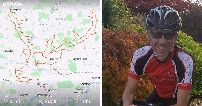 Ciclista pedala per 9 ore a Londra disegnando una renna con un'app di fitness