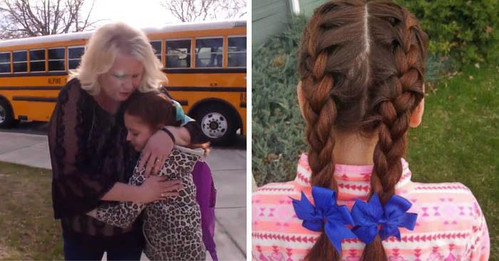 Questa conducente di scuolabus tutte le mattine fa le trecce alla bambina che ha perso la madre