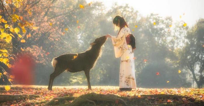 Fotografo cattura un istante di fiaba autunnale con una ragazza e un cervo