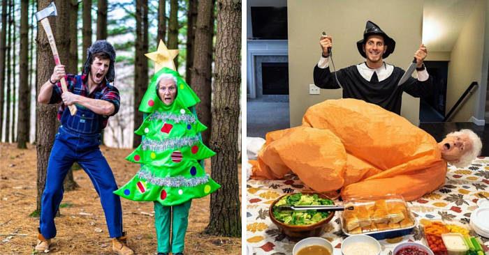 Nonna 93enne e suo nipote indossano costumi ridicoli per scene assurde, e sono esilaranti (40 foto)