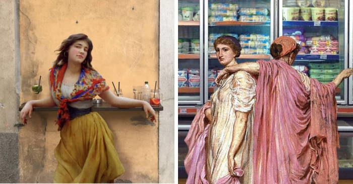Personaggi dei dipinti classici si ritrovano nel mondo d'oggi nei montaggi di Alexey Kondakov