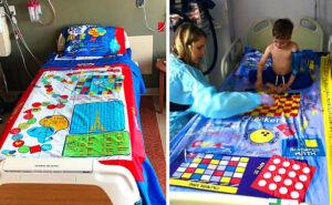 Papà trasforma giochi da tavolo in lenzuola, per aiutare i bambini a passare il tempo in ospedale