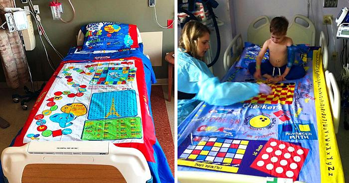 Papà trasforma giochi da tavolo in lenzuola per dare un sorriso ai bambini in ospedale