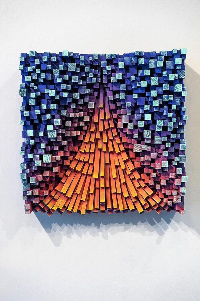 Sculture in legno effetto pixel Gil Bruvel