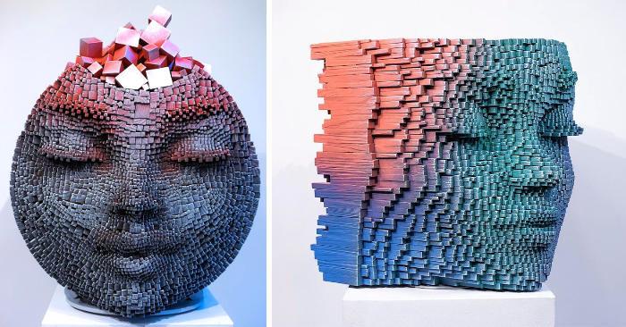 Vibranti sculture in legno effetto pixel esplorano la psiche umana