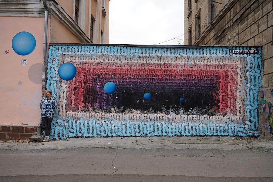 Street art portali tridimensionali Izzy Izvne