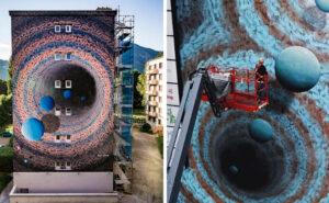Street artist trasforma le pareti di edifici in portali tridimensionali