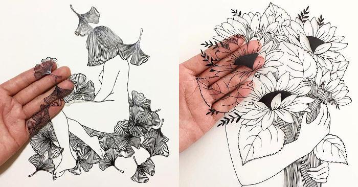 Poetiche illustrazioni ritagliate da un singolo foglio di carta