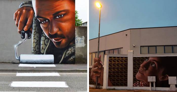 30 esempi di street art 3D che interagisce con l'esterno grazie all'artista italiano Caiffa Cosimo