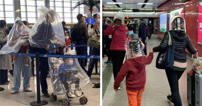 Viaggiatori impauriti indossano bottiglie di plastica come ...
