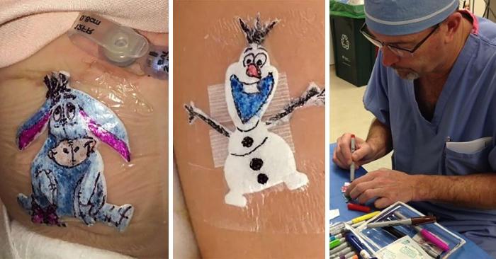 Chirurgo disegna cartoni animati sulle medicazioni dei bambini operati, per alleviare il loro disagio