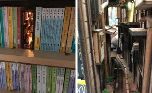 Magici fermalibri in legno che imitano gli stretti vicoli di Tokyo