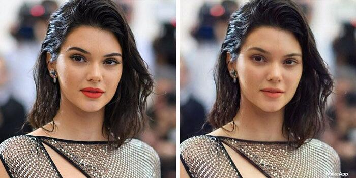 Filtro app rimuove trucco celebrità MakeApp