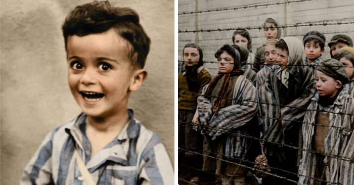 Un bambino di 4 anni sorride prima di finire nelle camera a gas in una foto b/n restaurata a colori