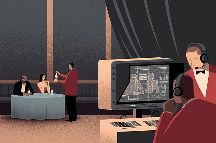 Illustrazioni digitali mostrano problemi mondo moderno Davide Bonazzi