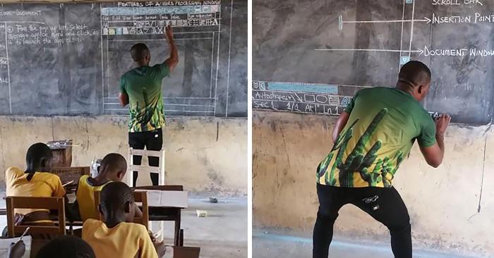Non hanno i computer ma questo insegnante del Ghana insegna Microsoft Word usando la lavagna