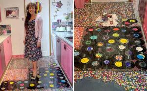 Mamma trasforma la collezione di dischi dell'ex marito infedele nel pavimento della cucina