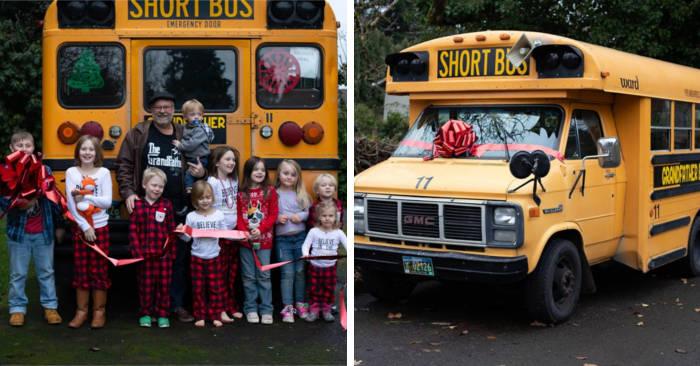 Nonno compra scuolabus per accompagnare i suoi 10 nipotini a scuola tutti i giorni