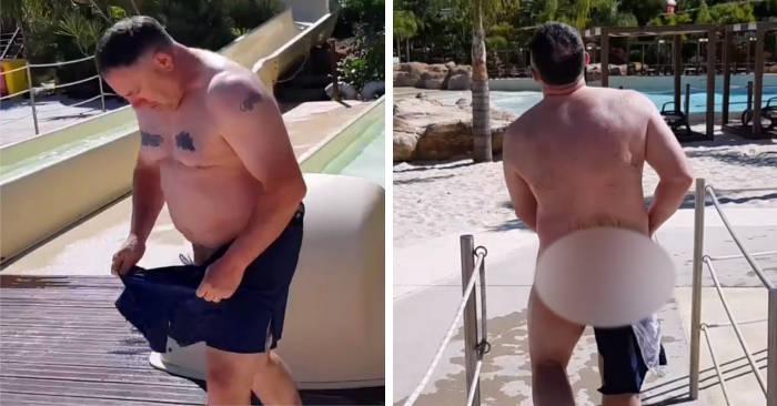 Scherzo al suocero: costretto a girare nudo perché il costume da bagno si autodistrugge