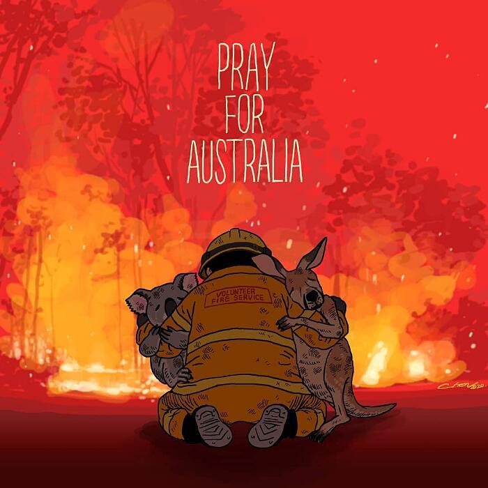 Tributo artisti animali morti negli incendi in Australia