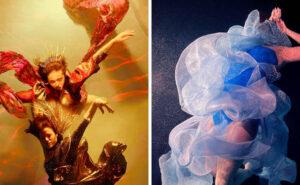 Persone fluttuanti tra tessuti colorati nelle bellissime foto subacquee di Christy Lee Rogers