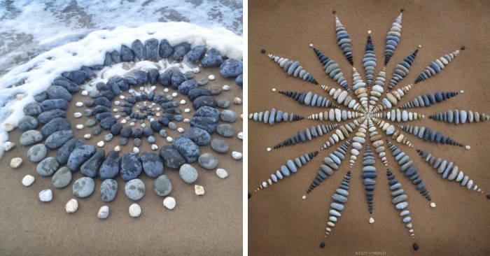 Artista sorprende tutti sulla spiaggia lasciando disegni di pietre lungo la costa