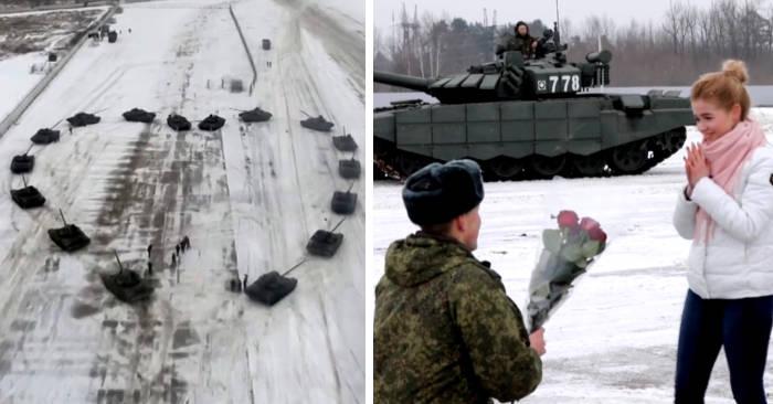 Tenente chiede alla ragazza di sposarlo posizionando 16 carri armati a forma di cuore a San Valentino