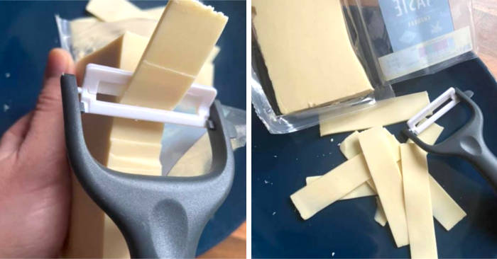 Mamma geniale usa un pelapatate per ottenere fettine di formaggio perfette