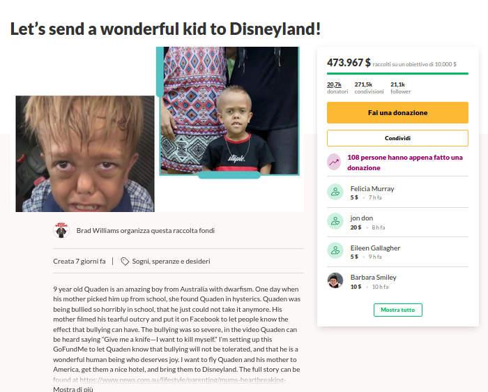 La famiglia di Quaden, il bambino bullizzato per il suo nanismo, rifiuta il viaggio a Disneyland