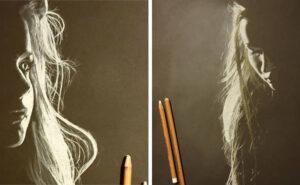 Artista disegna il lato luminoso delle donne usando pastelli e carboncino