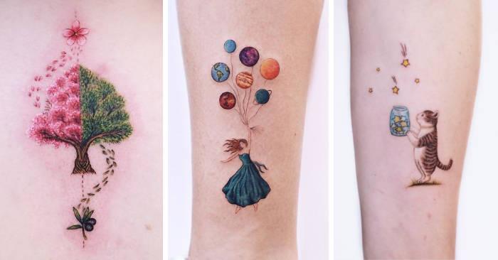Incantevoli tatuaggi che sembrano usciti da un libro di fiabe
